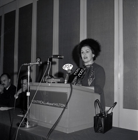 Mrs. Claire Kirkland-Casgrain during the inauguration of a section of the Trans Canada Highway