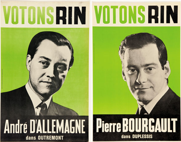 Posters for candidates André D'Allemagne and Pierre Bourgault of the Rassemblement pour l'indépendance nationale (RIN) during the provincial elections of 1966