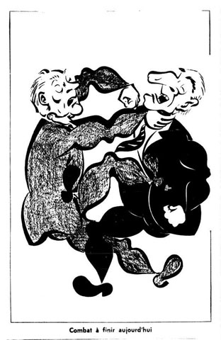 Caricature featuring Union nationale leader Antonio Barrette and Liberal Party leader Jean Lesage