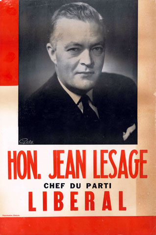 A Jean Lesage election poster for the elections held June 22, 1960