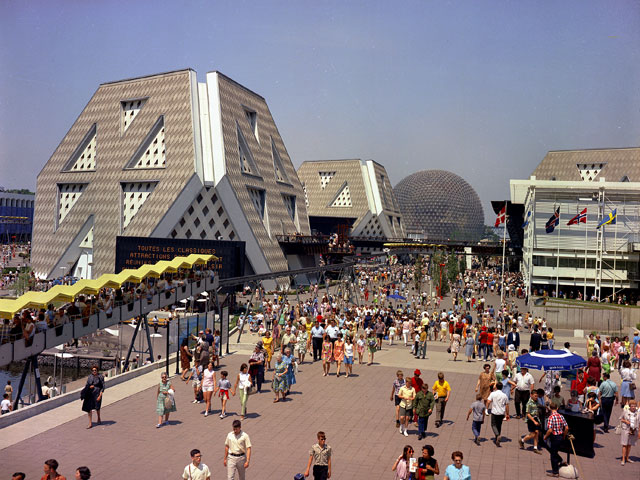 A view of the theme pavilions and the American pavilion