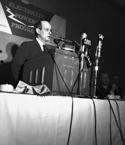Minister of Natural Resources, René Lévesque, makes a speech during National Electricity Week in 1962