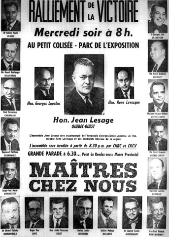 Invitation to an assembly of Liberal Party partisans in the Québec region during the election campaign of 1962