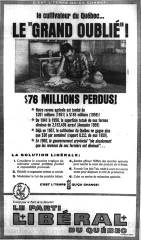 Liberal Party advertising deploring the plight of farmers under the government of the Union nationale during the election campaign of 1960