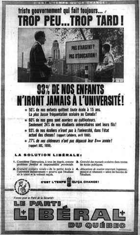 Liberal Party advertising for education during the election campaign of 1960