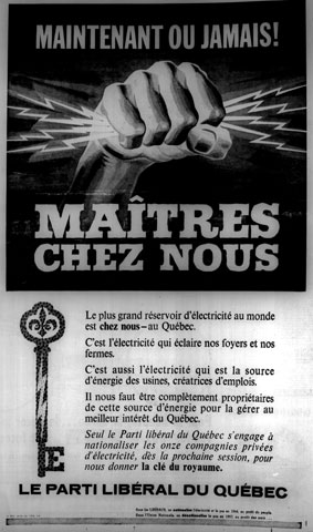 Liberal Party advertising on the main issue of the nationalization of electricity during the election campaign of 1962