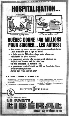 Liberal Party advertising for healthcare during the election campaign of 1960