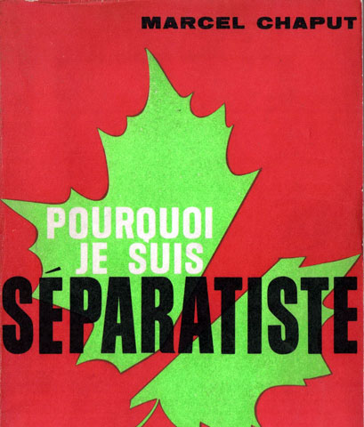 Cover of the book of Marcel Chaput featuring a green maple leaf against a red background