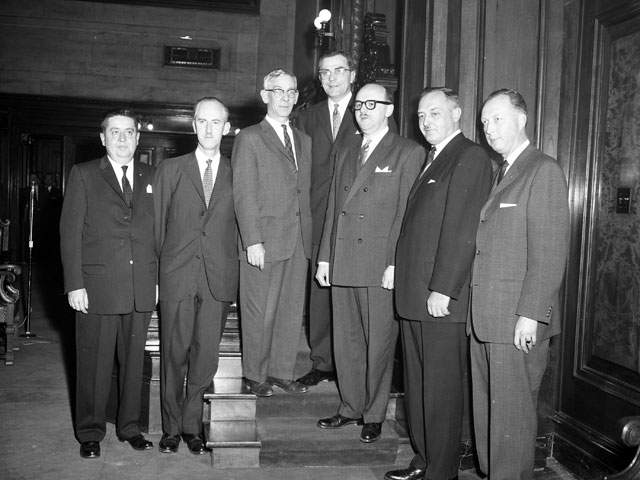 Jean Drapeau in the company of members of the Executive Committee of the City of Montréal